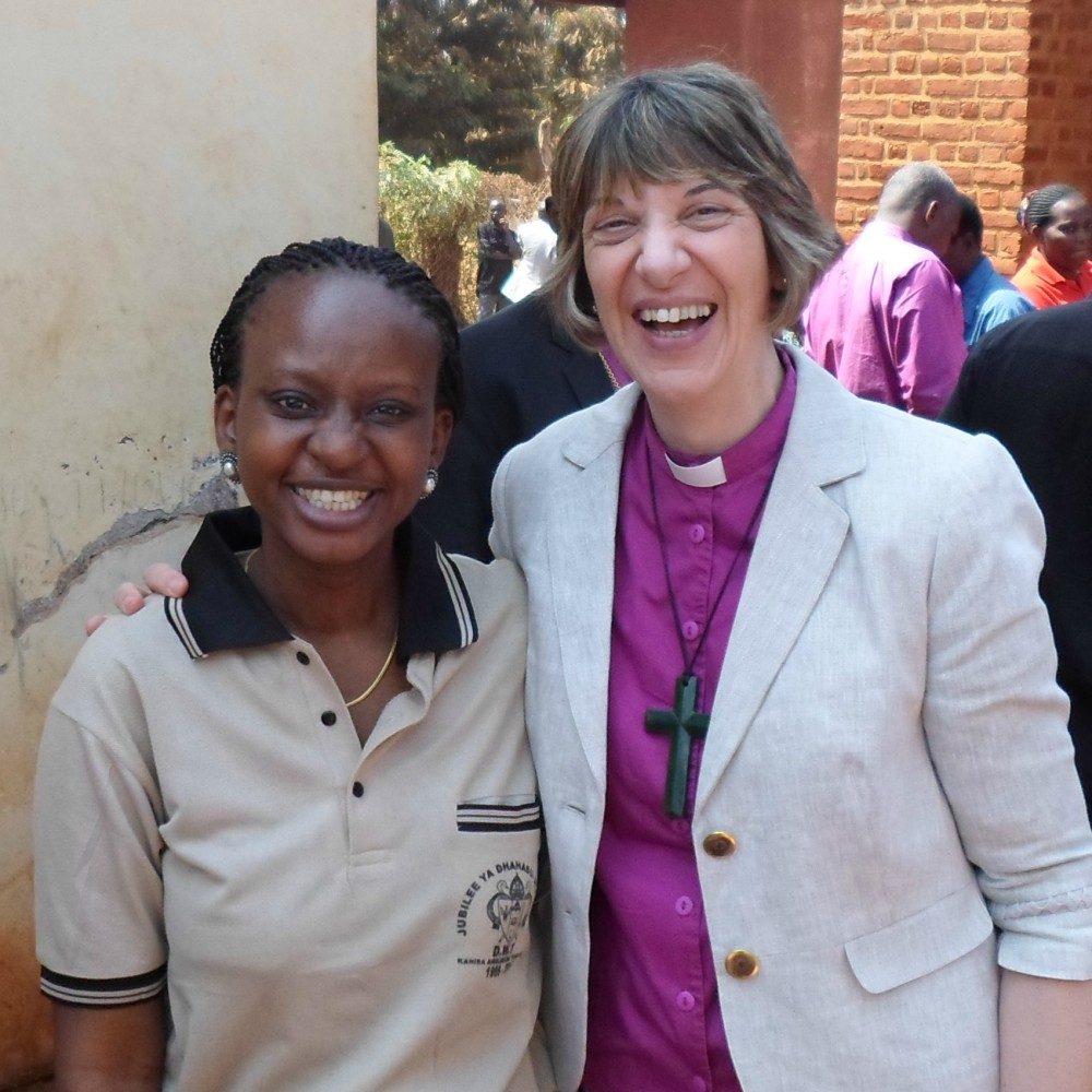 Bishop Rachel with a friend in Tanzania