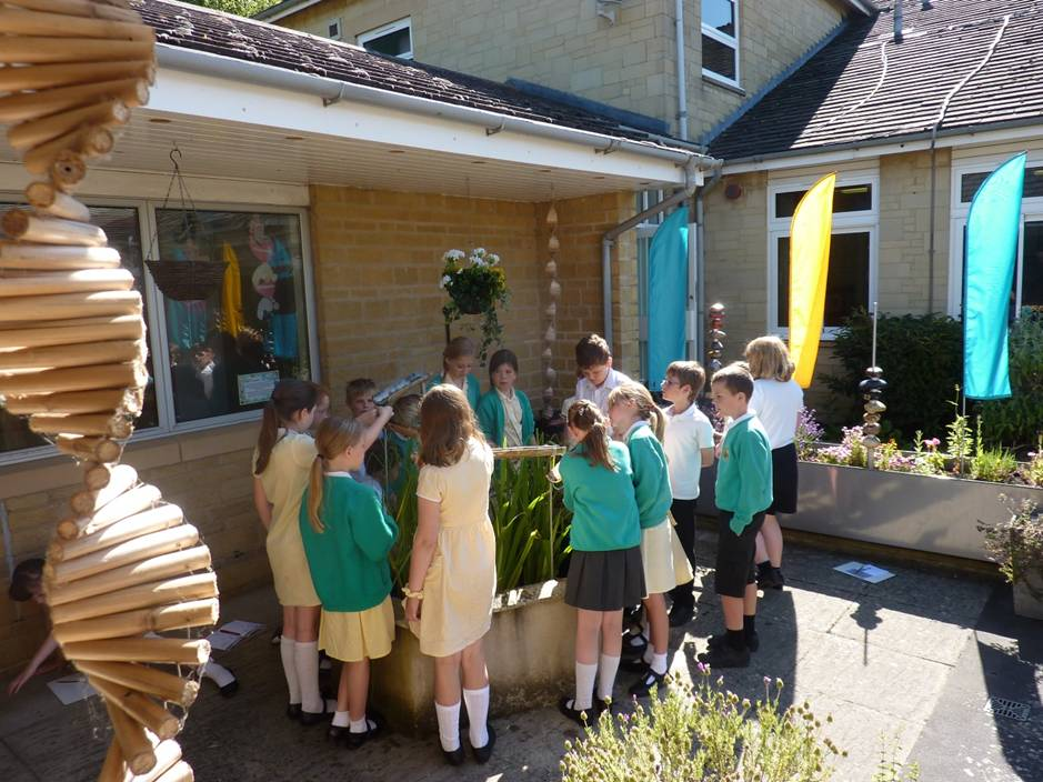 Class looking at water feature
