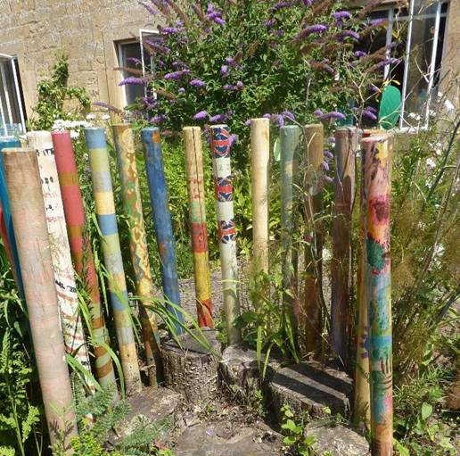 Bamboo sticks decorated by children and their families