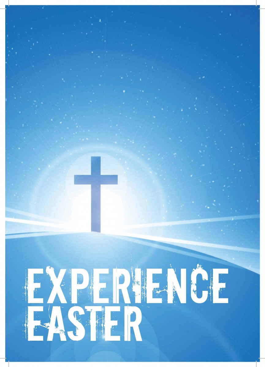 Experience Easter blue cross poster