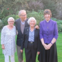 Welcomes Pat and Rowland (centre) at Bishopscourt