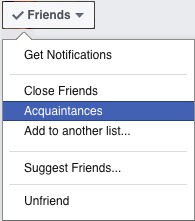 Setting a friend as an acquaintance on Facebook
