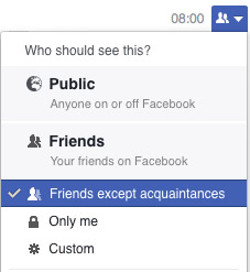 Setting a facebook update so only close friends can see it