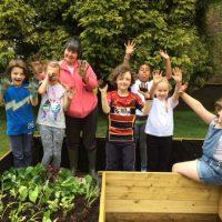 Children in the community garden
