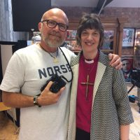 Marksteen of the PEEL project with Bishop Rachel Treweek