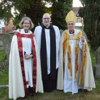 Archdeacon Jackie, Mark Close and Bishop Robert at Mark's licensing