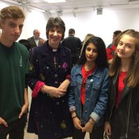 Bishop Rachel Treweek with teenagers at London Fashion Week