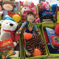 Samaritans Purse Recycled Shoe Boxes and Knitted Items