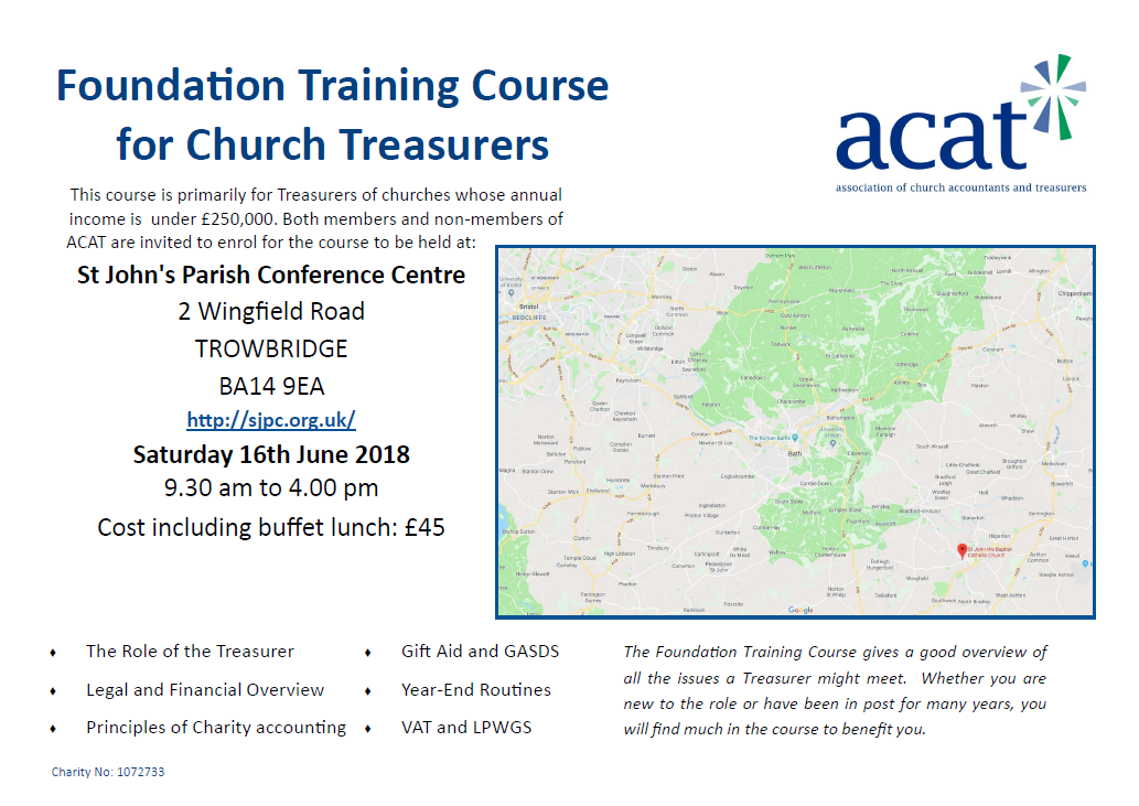 Foundation Training Course for Church Treasurers