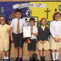 Highnam pupils celebrate their award