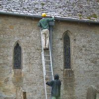 Man up a ladder
