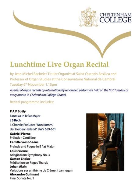 Lunchtime Live Organ Recital – Cheltenham College Chapel