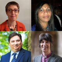 Revd Hilary Ison, Dr Alex Kent, Bishop Rachel and Ramani Leathard