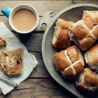Hot cross buns and a mug of tea